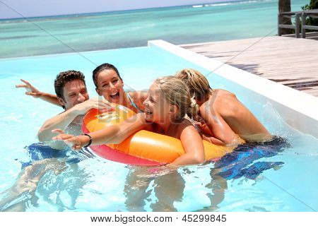 Couple with children enjoying bath time