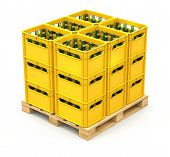 stock photo of wooden pallet  - Drink crates on the wooden pallet  - JPG