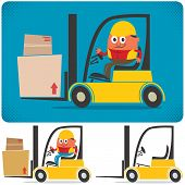 pic of heavy equipment operator  - Cartoon illustration of forklift with and without driver - JPG