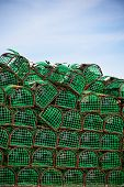 picture of lobster trap  - Lobster and Crab traps stack in a port - JPG