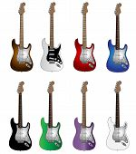 Set of eight basic colours electric guitars
