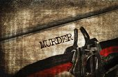 foto of old vintage typewriter  - word murder written with an old typewriter - JPG