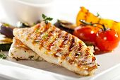 stock photo of fish  - Grilled Fish Fillet with BBQ Vegetables - JPG