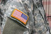Flag Patch On Soldier Uniform