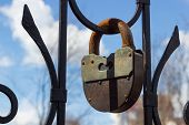 Large Rusty Iron Padlock, Selective Focus