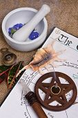 stock photo of wiccan  - wiccan ritual tools with book of shadows - JPG