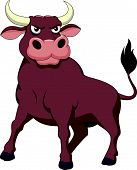 stock photo of oxen  - Vector illustration of Strong bull cartoon isolated on white background - JPG