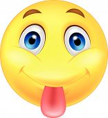 image of sticking out tongue  - Vector illustration of Smiley emoticon sticking out his tongue - JPG