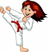 image of martial arts girl  - Vector illustration of Girl cartoon doing martial art - JPG