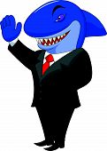 image of loan-shark  - Vector illustration of Business shark cartoon isolated on white background - JPG