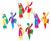 image of salwar-kameez  - an illustration of traditional punjabi bhangra dancing with four couples dressed in colorful costumes on a white background - JPG