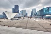 PARIS - APRIL 6: Business district La Defense placed at the end of Historical Axis, which starts at