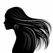 stock photo of wavy  - Woman hair style silhouette vector - JPG