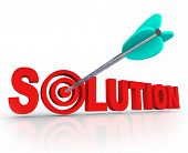 stock photo of bull  - The word Solution in red 3D letters and an arrow in a target bulls eye in the letter O to symbolize a problem solved and an answer found to fix an issue or trouble - JPG