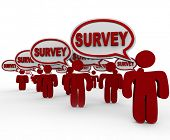 Many people or customers answering your questions with the word Survey in speech bubbles to symboliz