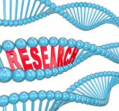 stock photo of biotech  - The word Research in red letters hidden within a blue DNA strand to illustrate medical studies in a laboratory for finding a cure to a disease such as cancer - JPG