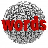 A jumble ball of words and letters to represent communication, writing, learning and alphabet skills