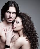 stock photo of shout  - glamorous portrait of a pair of vampire lovers - JPG