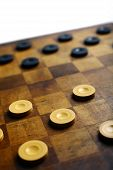 picture of draught-board  - Color shot of a vintage draughts or checkers board game - JPG