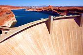 stock photo of oasis  - Lake Powell and Glen Canyon Dam in the Desert of Arizona - JPG