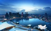 stock photo of singapore night  - Singapore city in sunset time - JPG