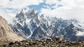stock photo of karakoram  - Jagged mountain scenery in the Karakorum Range Pakistan - JPG