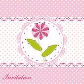 Invitation card with cute flower