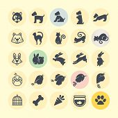 stock photo of caged  - Set of different vector animal icons for web and printed materials - JPG