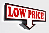 Low Price Sign With Arrow Down