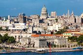 View of Havana featuring several well known landmarks on a beautiful summer day poster