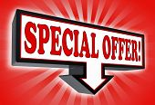 Special Offer Sign With Arrow Down
