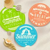 stock photo of cutting board  - Summer vacation and travel labels and sea shells on a beach sand  - JPG