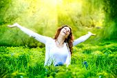 stock photo of pollen  - Beautiful Young Woman Outdoors - JPG