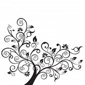 stock photo of swirly  - Flowers and swirls design element silhouette in black - JPG