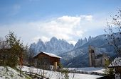 picture of south tyrol  - The mountain village and church of St - JPG