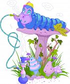 foto of caterpillar cartoon  - The Blue Caterpillar using a hookah - JPG