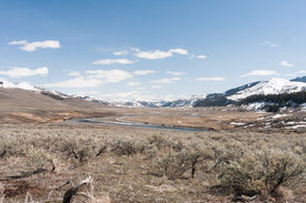 stock photo of lamar  - View from the west of the Lamar Valley in Yellowstone - JPG