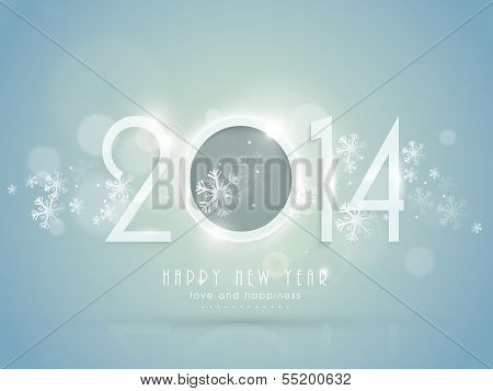 Happy New Year 2014 celebration flyer, banner, poster or invitation with stylish text on snowflakes decorated blue background.