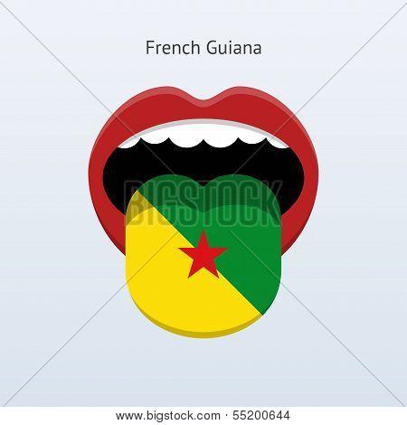 French Guiana language. Abstract human tongue.
