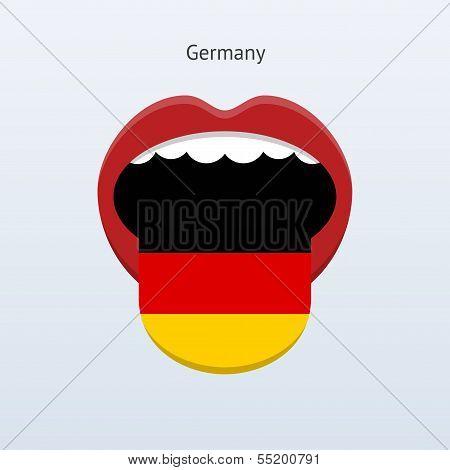 Germany language. Abstract human tongue.
