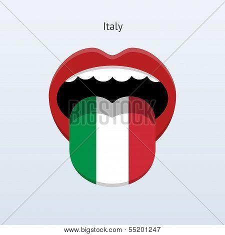 Italy language. Abstract human tongue.