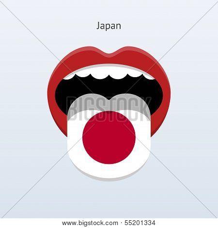 Japan language. Abstract human tongue.