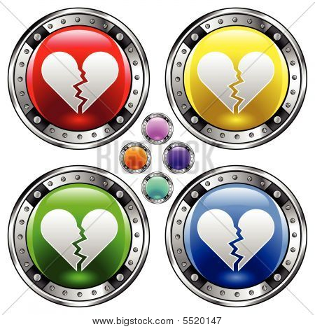 Broken Heart Icon On Round Button