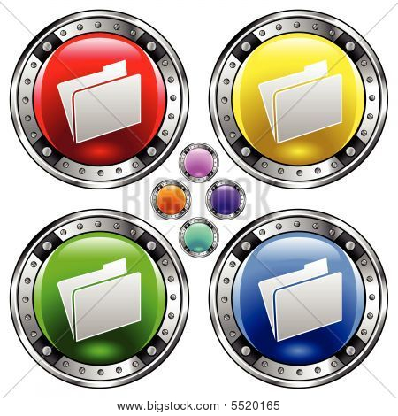 File Folder Icon On Round Button