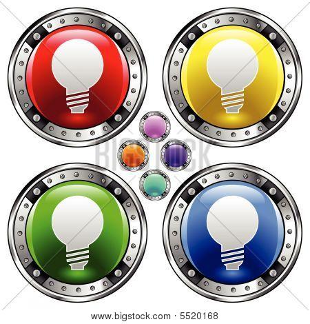 Bombilla de luz en el botón redondo