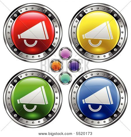 Megaphone Icon On Round Button