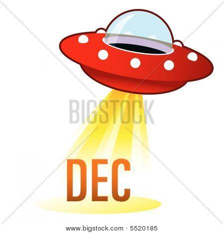 December Month Icon On Retro Ufo