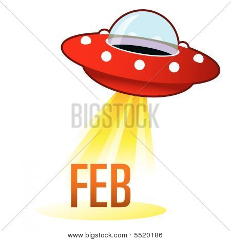 February Month Icon On Retro Ufo