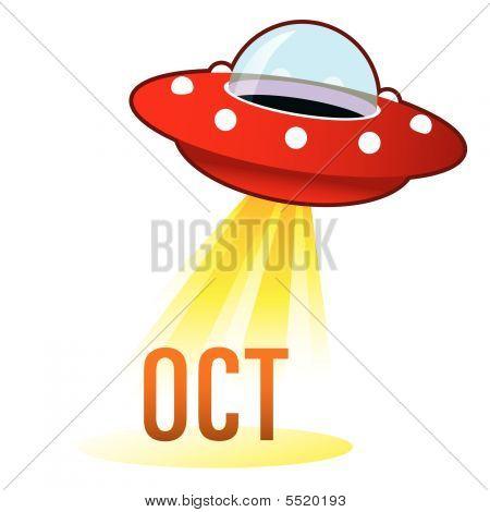 October Icon On Retro Ufo