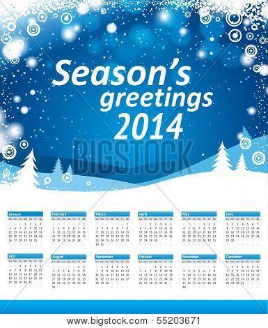 American Calendar 2014. Sunday week start. Vector blue christmas landscape